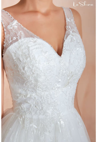Image of Vintage Bride Dresses Sweetheart Neckline A-Line with Tailing - 5