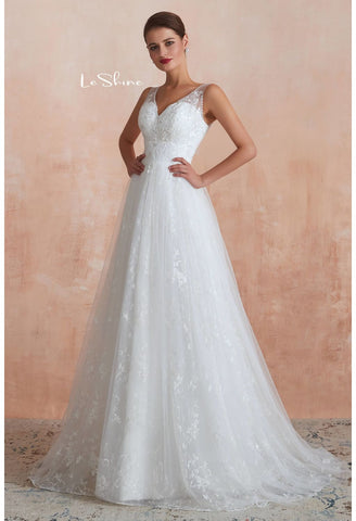 Image of Vintage Bride Dresses Sweetheart Neckline A-Line with Tailing - 3