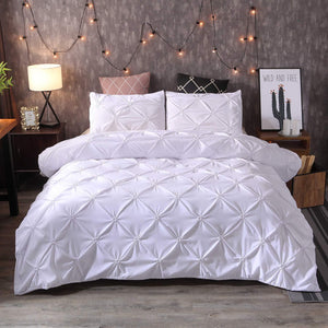 Pintuck Duvet Set 100% Cotton Quilt Cover Single Double King Super King Size Pintuck Bedding - seventhstitch
