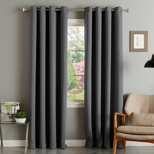 Blackout Eyelet Top Ring 100% Egyptian Cotton Curtains Pair Fully Lined Ready Made Black Charcoal - seventhstitch