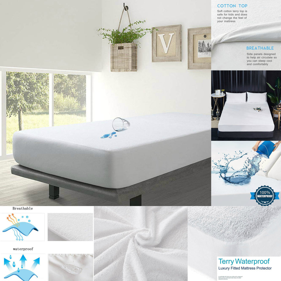 40cm Extra Deep Waterproof Terry Mattress Protector Fitted Sheet Bed Cover King - seventhstitch