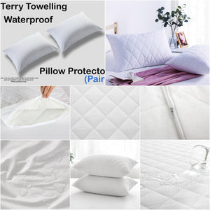 Pack of 2 Waterproof Quilted Pillow Protectors 100% Cotton - seventhstitch