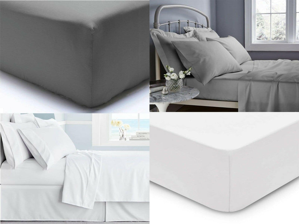 Luxury Hotel Quality 400TC Extra Deep 40cm Fitted Sheet 100% Egyptian Cotton Double King Super King - seventhstitch