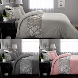 Luxury Duvet Cover Quilt Set Velvet Pleated Pintuck Bedding Double King Super King Size - seventhstitch