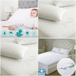 Extra Deep 100% Waterproof Quilted Mattress Protector Single Small Double King Super King Size - seventhstitch
