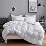 Seersucker Duvet Cover Quilt Set 100% Egyptian Cotton Bedding Sets Double, King, Super King - seventhstitch