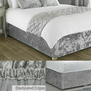 Velvet Divan Bed Base Valance Wrap Frame Cover Single, Double, Super King Size - seventhstitch