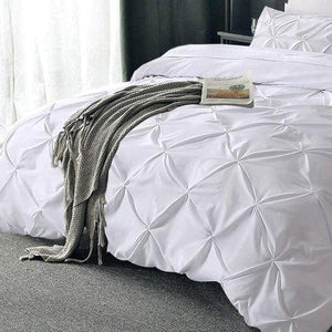 Pintuck Duvet Set 100% Cotton Quilt Cover All UK Sizes Bedding Sets - seventhstitch