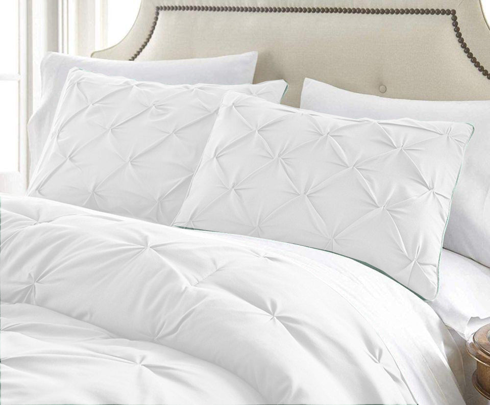 Pintuck Duvet Cover 100% Egyptian Cotton Single Double King Super King Size Bedding Set - seventhstitch