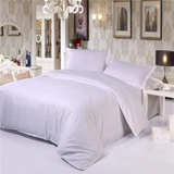 Luxury Hotel Quality Cotton Satin Stripe 3 Piece Duvet Cover Bedding Set White - seventhstitch