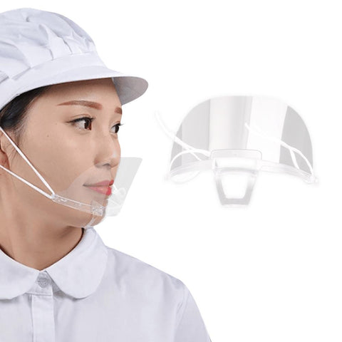 【MPHA00021】MEIPENG Catering chef Hotel transparent mask thickened PS material food grade smile plastic mask