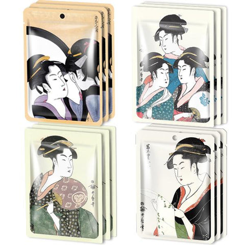 MITOMO Type C [JP UKIYOE trial set 12 sheets] Beautiful skin face mask - Made in Japan - Reward yourself, moisturize your skin.