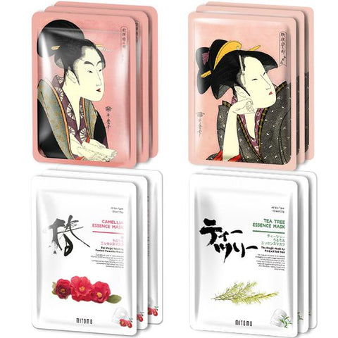MITOMO Type D [JP UKIYOE trial set 12 sheets] Beautiful skin face mask - Made in Japan - Reward yourself, moisturize your skin.