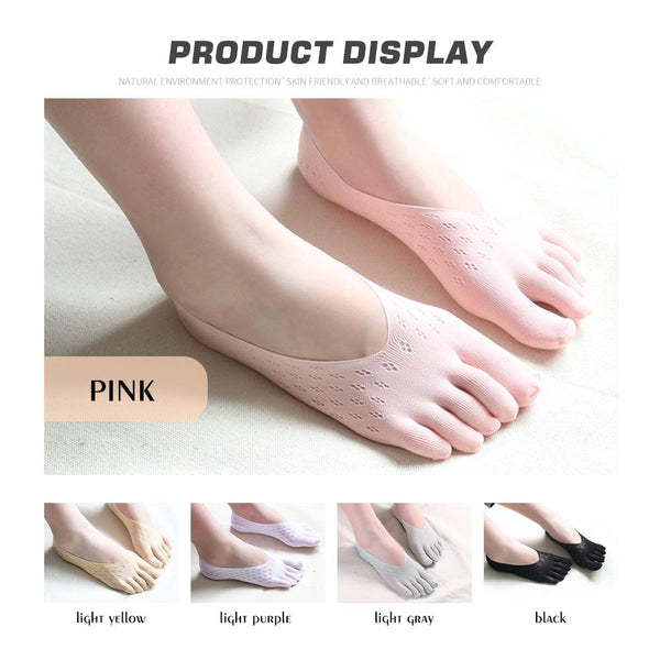[MPHA00013] MEIPENG Women's five toe Socks Lot Cotton Invisible Ankle No Show Low Cut