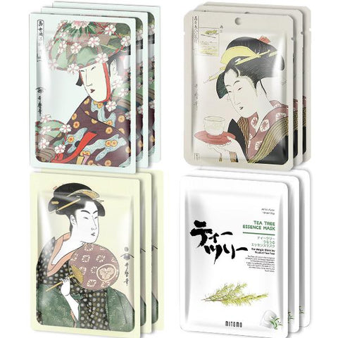 MITOMO Type F [JP UKIYOE trial set 12 sheets] Beautiful skin face mask - Made in Japan - Reward yourself, moisturize your skin.