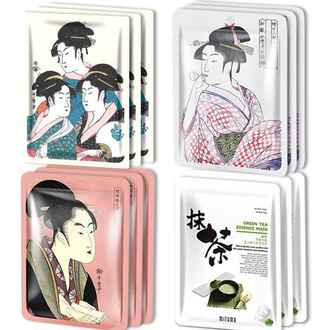 MITOMO Type G [JP UKIYOE trial set 12 sheets] Beautiful skin face mask - Made in Japan - Reward yourself, moisturize your skin.