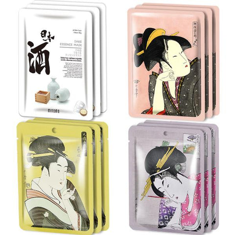 MITOMO Type H [JP UKIYOE trial set 12 sheets] Beautiful skin face mask - Made in Japan - Reward yourself, moisturize your skin.