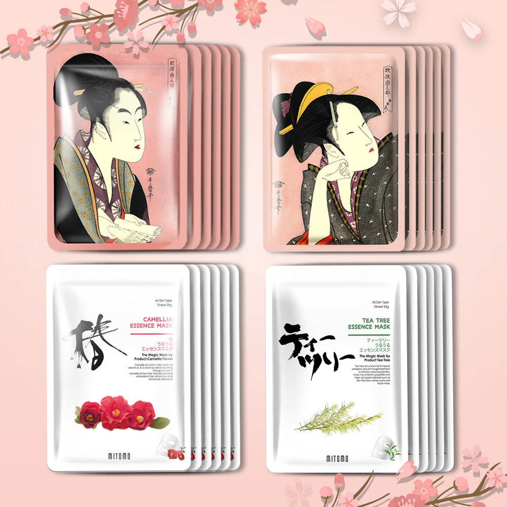 [TKJP00512-04-024]MITOMO Type 4 [JP UKIYOE trial set 24 sheets] Beautiful skin face mask - Made in Japan - Best gift to moisturize your skin.