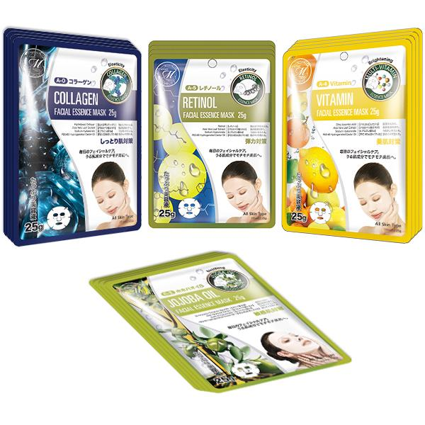 Mitomo Facial Anti-Aging Skincare Beauty Face Mask Sheet bundles: 4 types – 16 packs