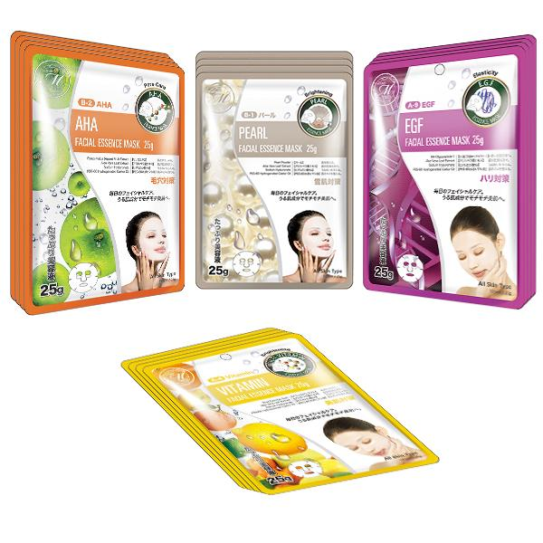 Mitomo Facial Brightening Skincare Beauty Face Mask Sheet bundles: 4 types – 16 packs