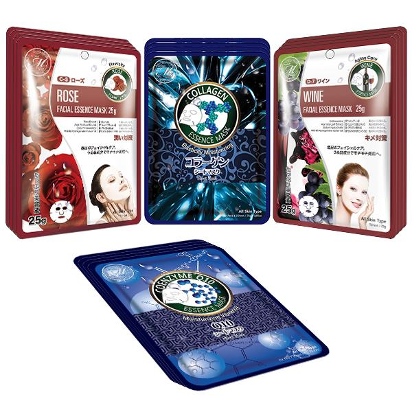 [TKMT00562-04-016]Mitomo Facial Moisturizing Skincare Beauty Face Mask Sheet bundles: 4 types – 16 packs