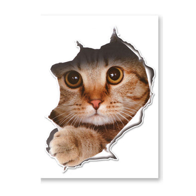 3d Cat Dog Breaking Down Walls Toilet Sticker Decal Funny Animal Wall Sticker Pvc Wallpaper For Living Room Bedroom Home Decor