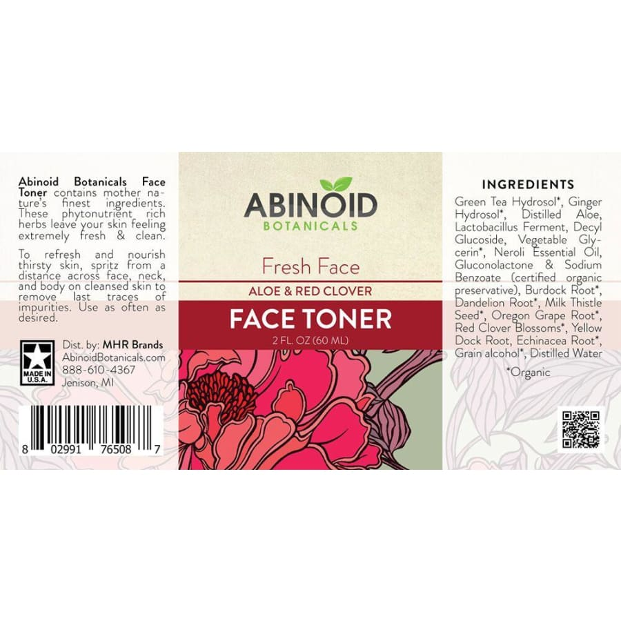 Abinoid | Fresh Face Toner w/ Aloe & Red Clover (2oz) - CBD Cosmetics