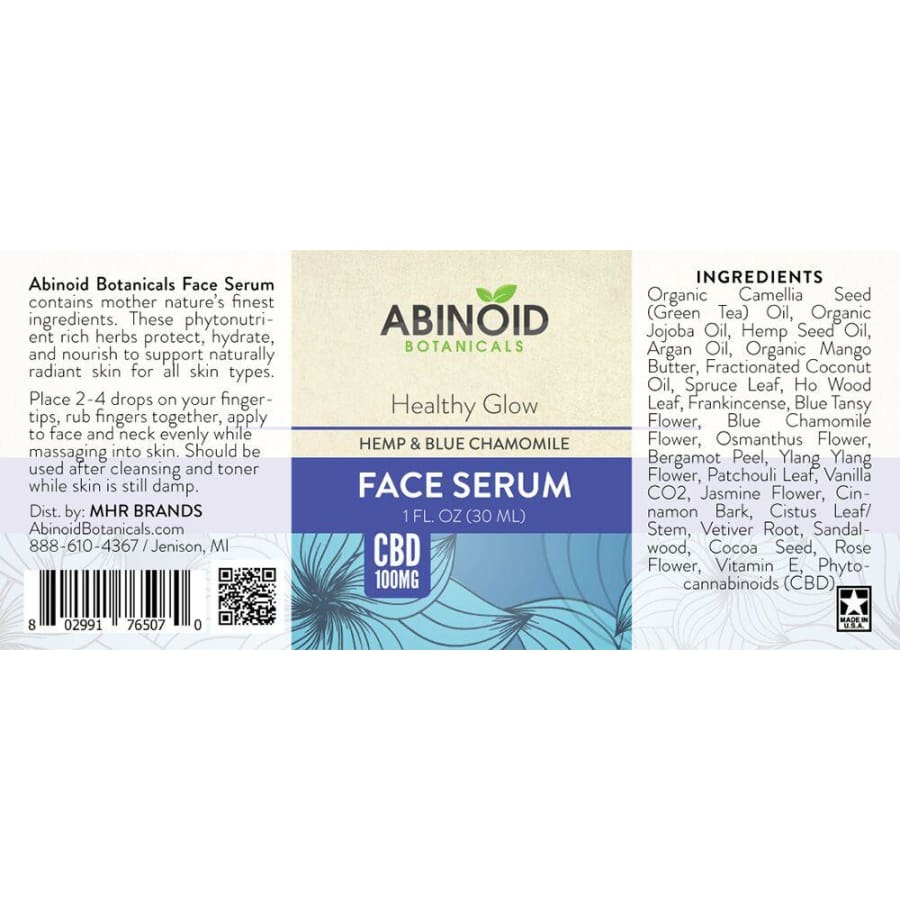 Abinoid | Healthy Glow Face Serum w/ Blue Chamomile & Hemp (1oz 100mg) - CBD Cosmetics