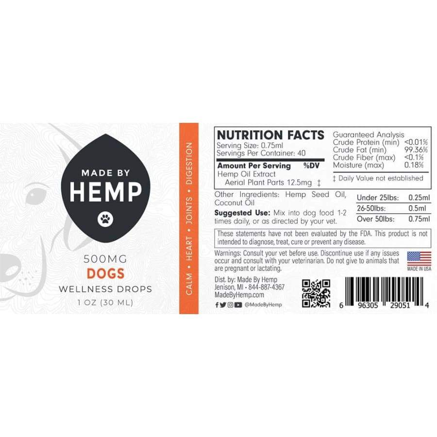 Made By Hemp | Dog Tincture (1oz 500mg) - CBD Pets