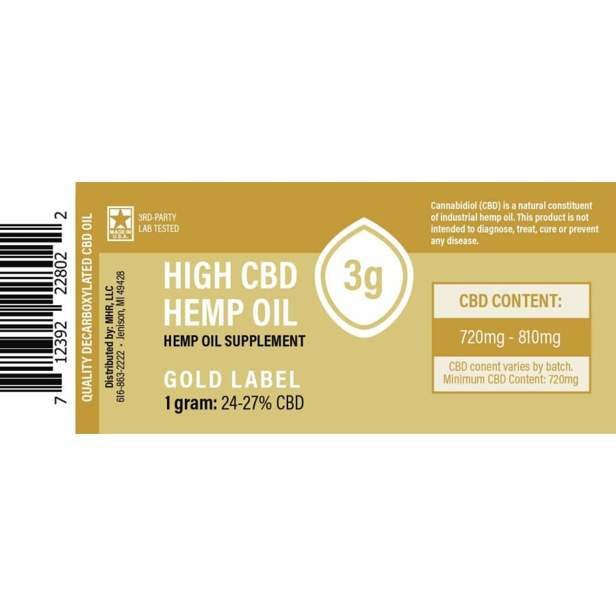 Made By Hemp | Hemp Extract 24%-27% Gold Label (250mg-2500mg) - CBD Pure Extracts
