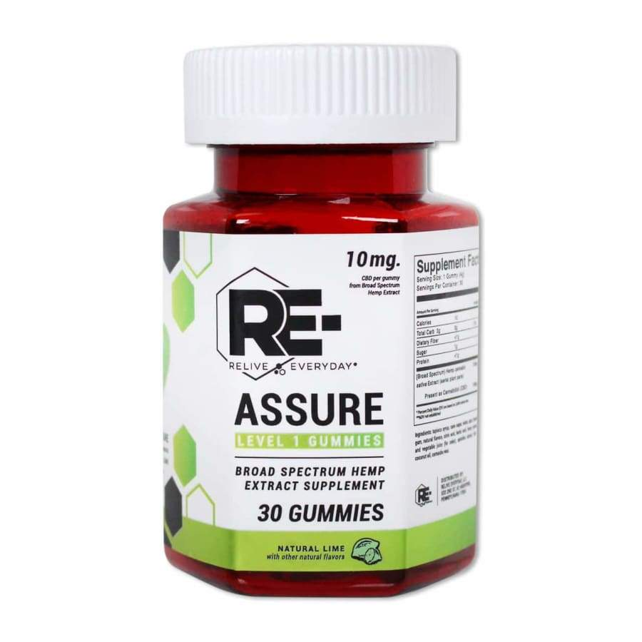 Relive Everyday | RE-Assure Natural Lime Hemp Extract Vegan CBD Gummies (30ct 300mg) - CBD Gummies