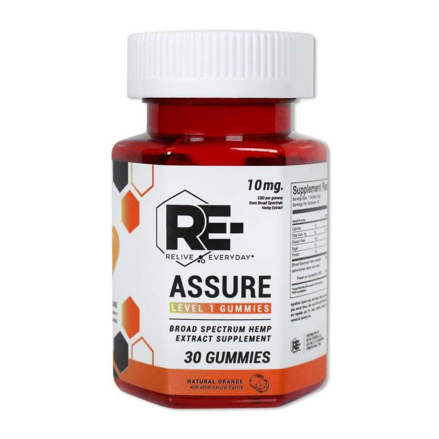 Relive Everyday | RE-Assure Natural Orange Hemp Extract Vegan CBD Gummies (30ct 300mg) - CBD Gummies