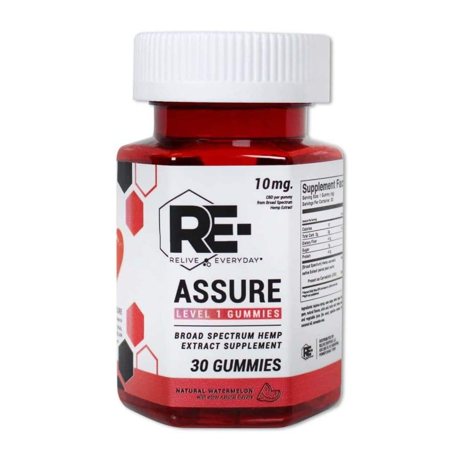 Relive Everyday | RE-Assure Natural Watermelon Hemp Extract Vegan CBD Gummies (30ct 300mg) - CBD Gummies