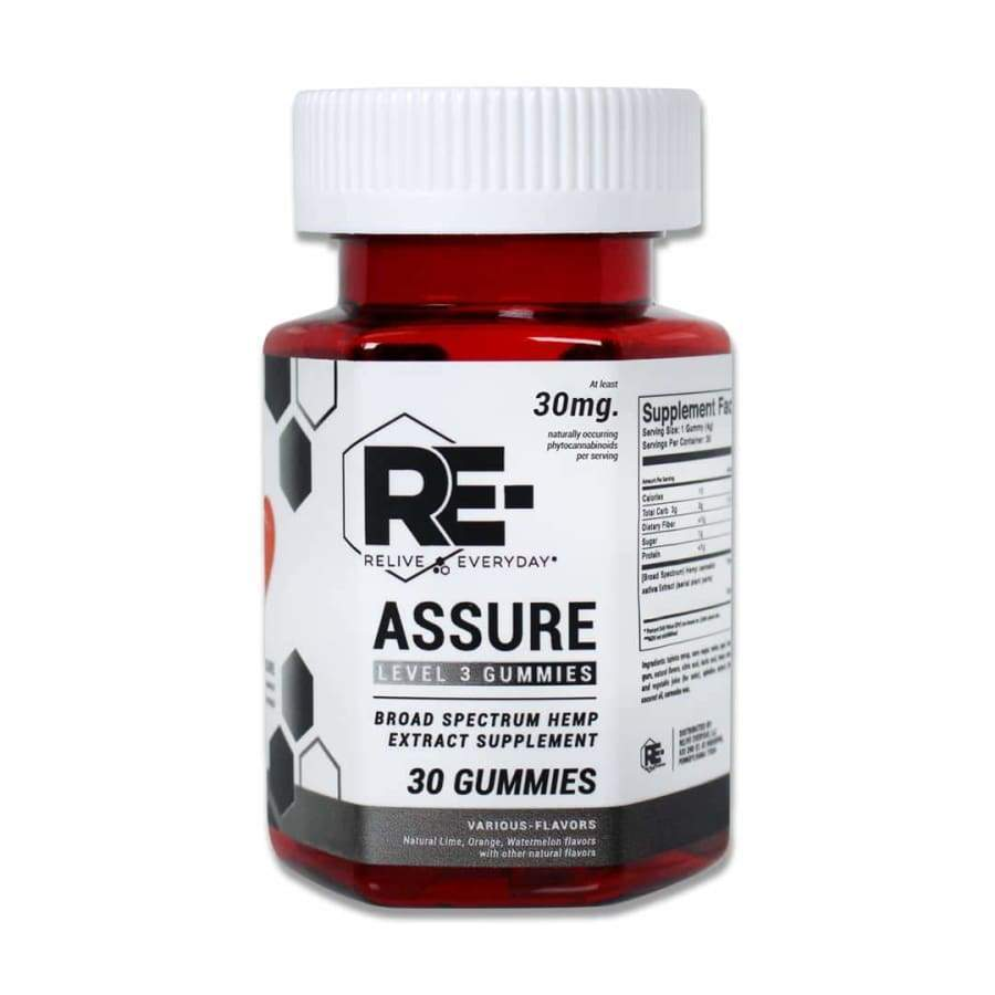 Relive Everyday | RE-Assure Various Flavors Hemp Extract Vegan CBD Gummies (30ct 300-900mg) - CBD Gummies