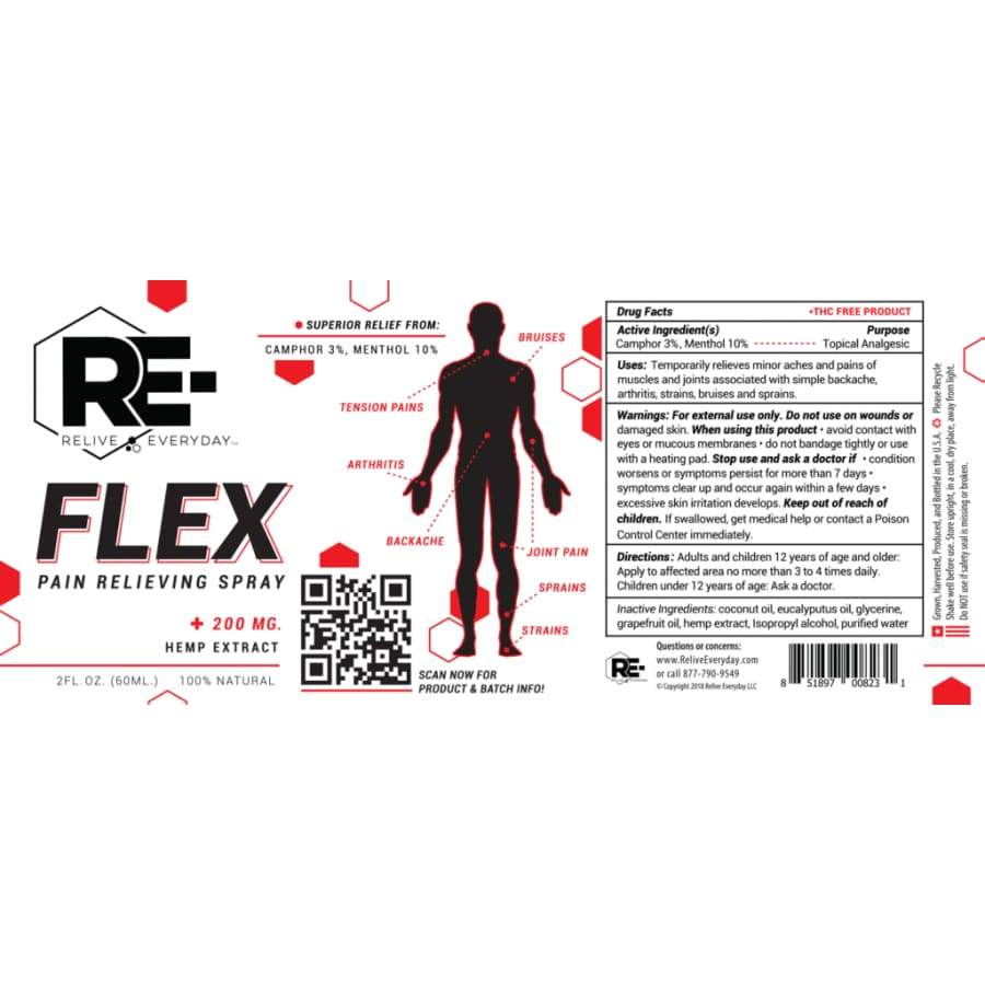 Relive Everyday | RE-FLEX Hemp Extract CBD Spray (1oz 100mg) - CBD Topicals