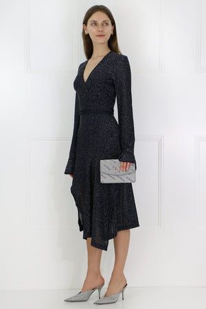 LUREX WRAP KNIT DRESS L/S NAVY