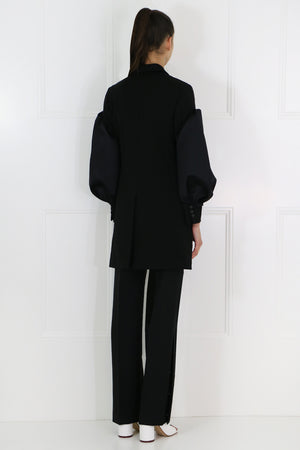 SIDE BUTTONED STRAIGHT LEG PANT BLACK
