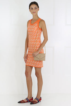 LOGO KNIT MINI DRESS S/LESS KUMQUAT