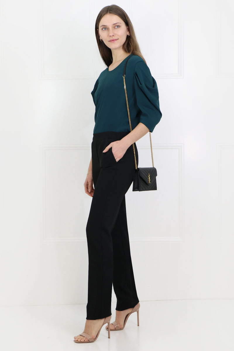 SLIM LEG PANTS BLACK