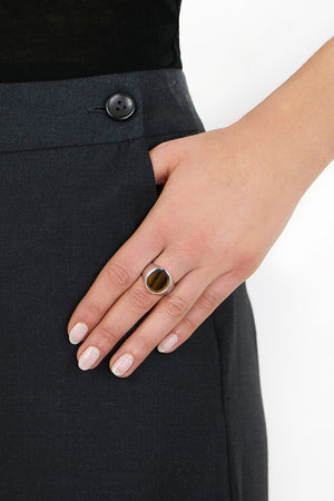 TIGER EYE OVAL RING SILVER