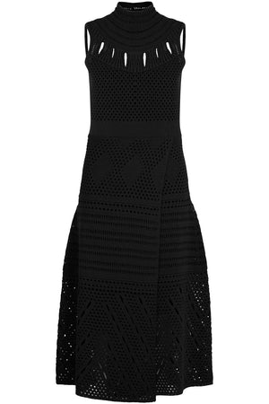S/LESS CROCHET TURTLENECK MIDI DRESS BLACK
