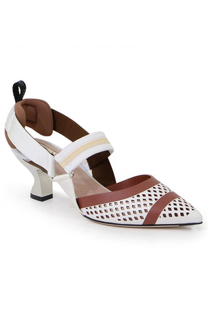 MESH SLINGBACK 55MM WHITE/RUST