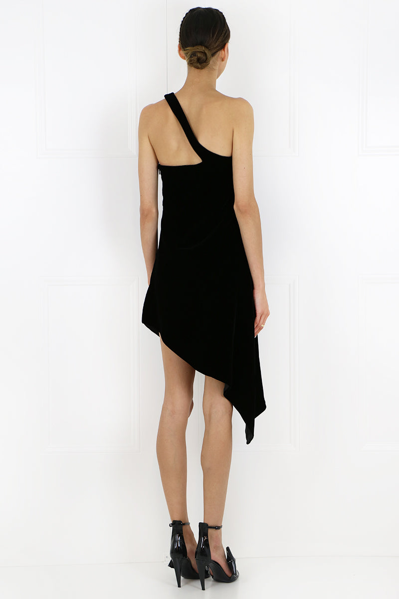 VELVET ONE SHOULDER DRESS BLACK