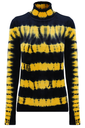 TIE DYE VELVET TOP L/S BLACK/GOLD