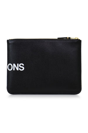 HUGE LOGO LEATHER POUCH BLACK