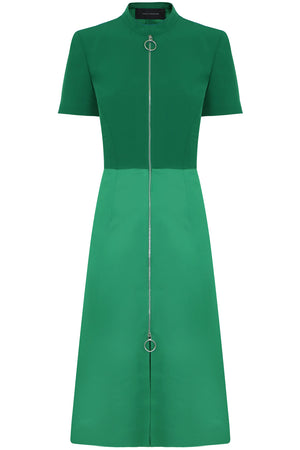 ZIPPED MIDI DRESS S/S GREEN