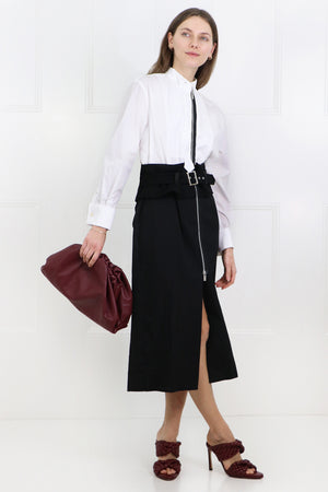 CONTRAST BELTED DRESS WHITE/BLACK