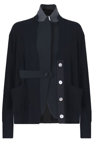 CARDI-JACKET WITH SHEER BACK BLACK