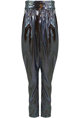 KARIAM DRAPED PANT METALLIC BLUE