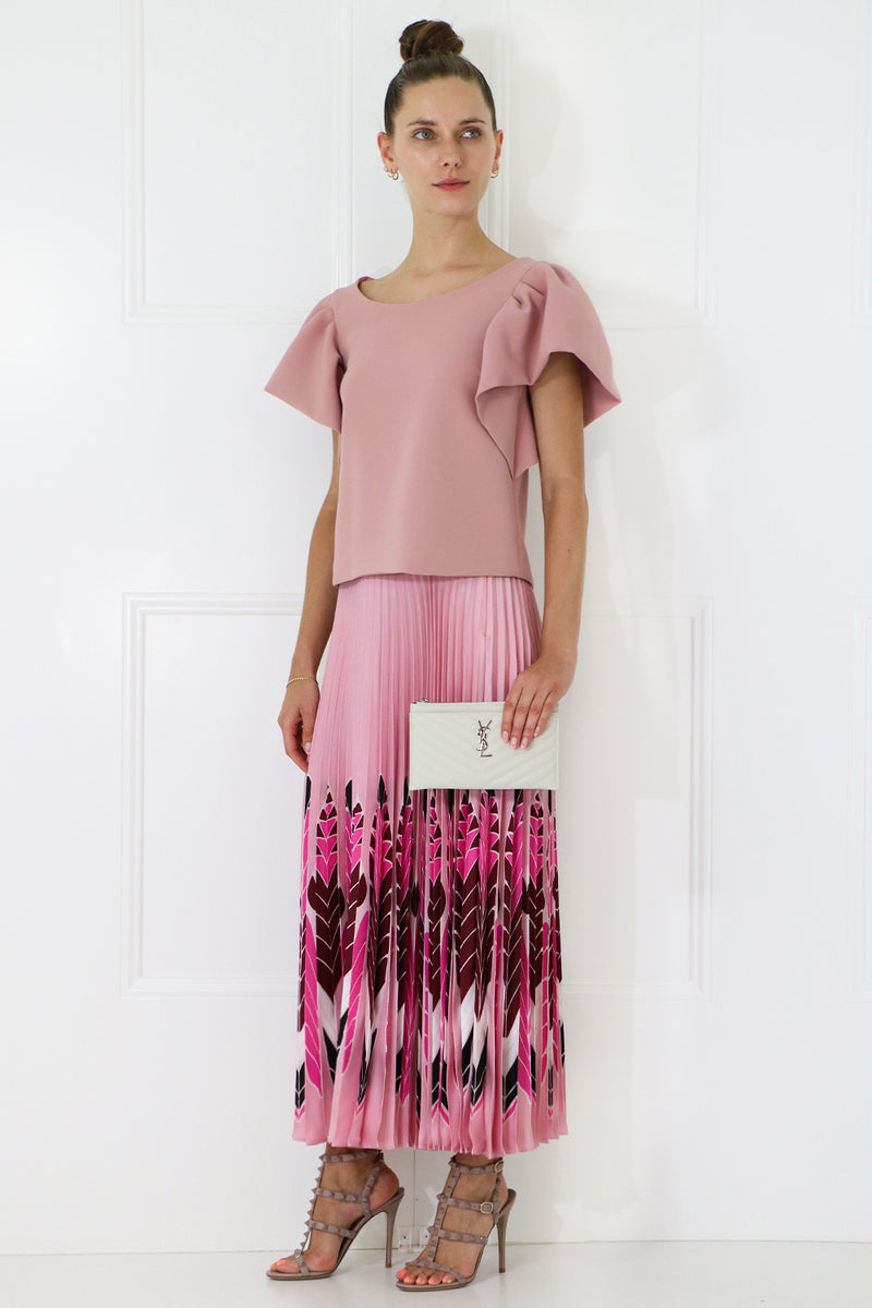 TISSUE CROP TOP WITH PUFF SLEEVE PINK